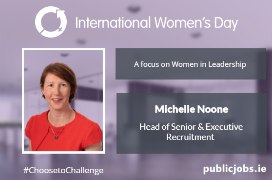 Image of woman, Michelle Noone, Head of Senior and Executive Recruitment, against a purple background